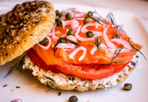 lox n bagel sandwich no spoon necessary