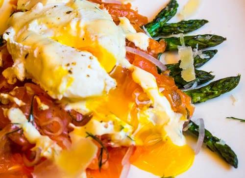 Asparagus, Gravlax & Poached Eggs with Dijon Creme Fraiche Sauce