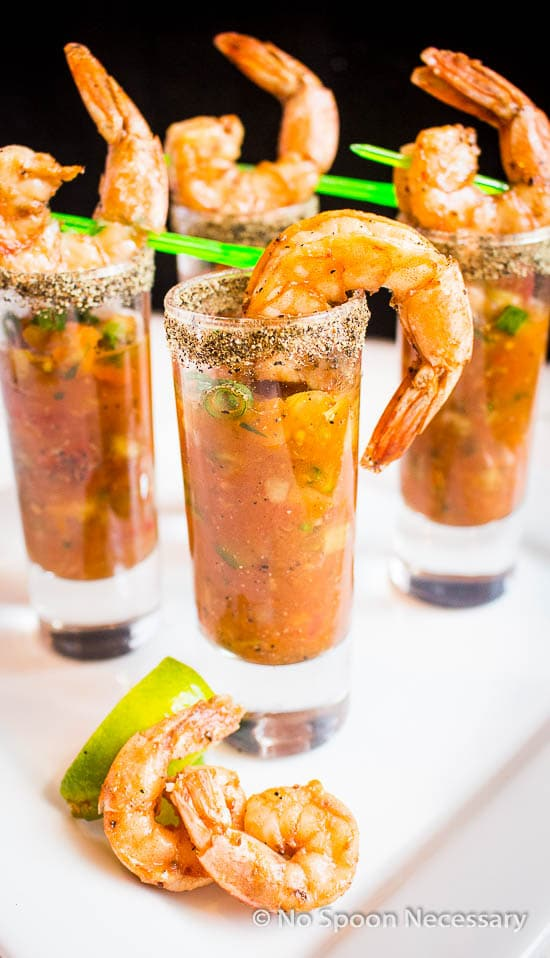 Spicy Bloody Mary Gazpacho & Shrimp Shooters - No Spoon Necessary
