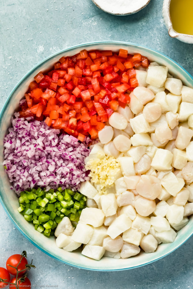 Overhead photo of citrus marinated cubed fish and scallops, diced tomatoes, diced red onions, diced jalapeños and minced garlic in a large bowl - photo of step 3 of the fish ceviche recipe.