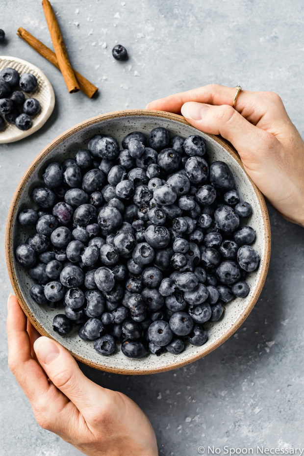 Overhead shot of hands holding a large bowl of fresh blueberries with cinnamon sticks and more blueberries in the corner of the shot. (Photo of the main ingredient in the recipe for Easy Slow Cooker Blueberry Butter)