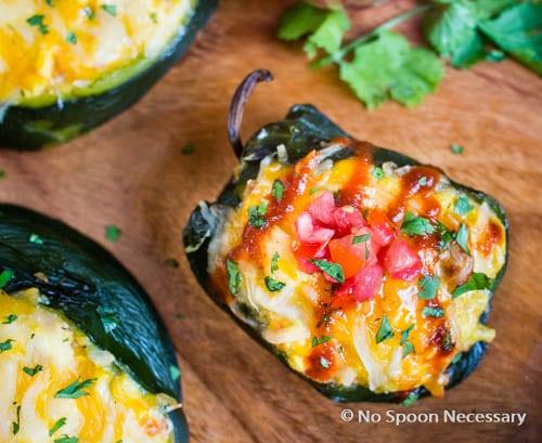 Sweet Potato Hash & Egg Stuffed Poblano Peppers