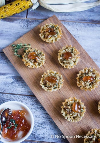 Filo Cups - goat cheese, honey, walnuts-192