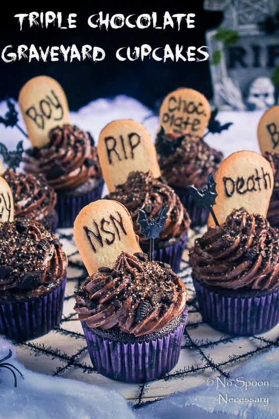 Triple Chocolate Graveyard Cupcakes