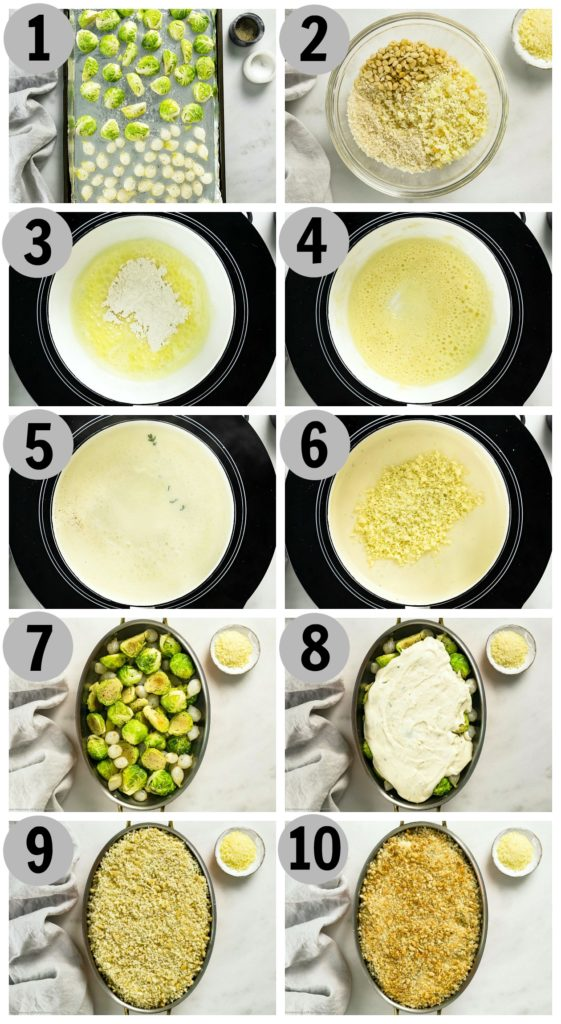 Overhead photo collage of how to make brussels sprouts au gratin step by step.