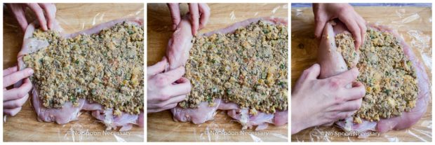 Overhead collage photos of how to prepare, roll and stuff a turkey roulade - steps 4 through 6.
