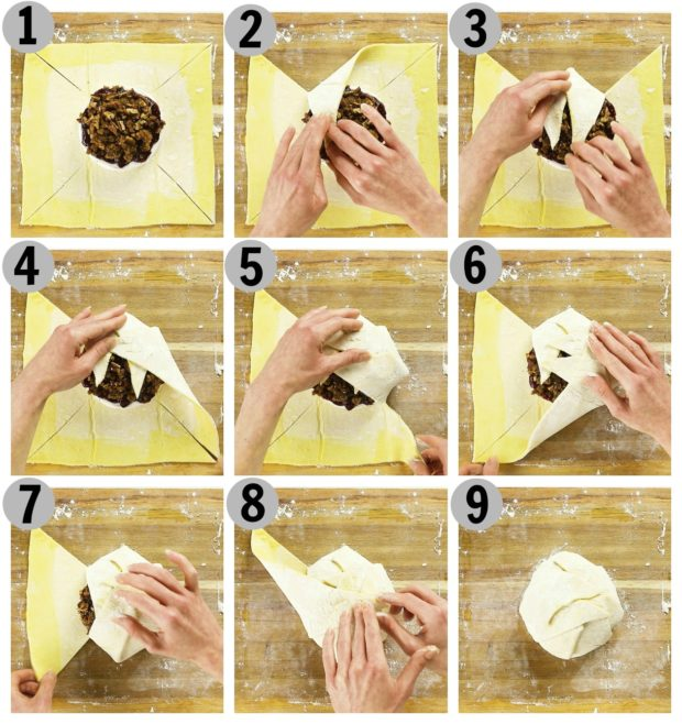 Overhead photo collage of how to fold brie en croute step by step.