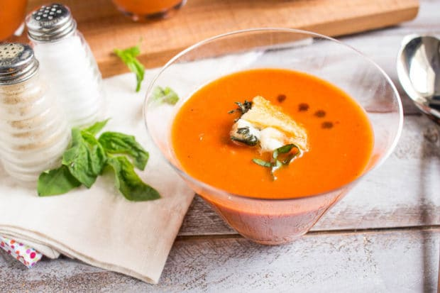 Tomato Basil Soup with caprese crutons-101