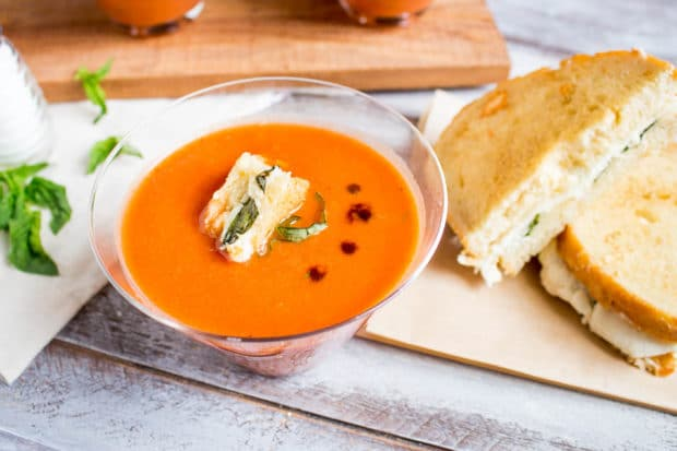 Tomato Basil Soup with caprese crutons-137