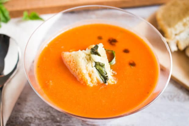 Tomato Basil Soup with caprese crutons-182