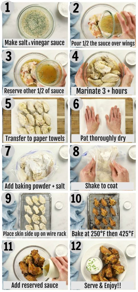 Overhead photo collage of how to make crispy salt and vinegar chicken wings step by step with written instructions on each step.