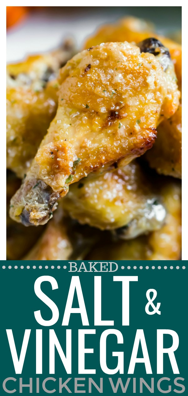 Baked Salt & Vinegar Chicken Wings | These crispy, tender chicken wings taste exactly like the classic chips, just in wing form! Salty, tangy and finger lickin' good, these wings are the ultimate game day grub! #salt #vinegar #chicken #wings #crispy #baked #recipe