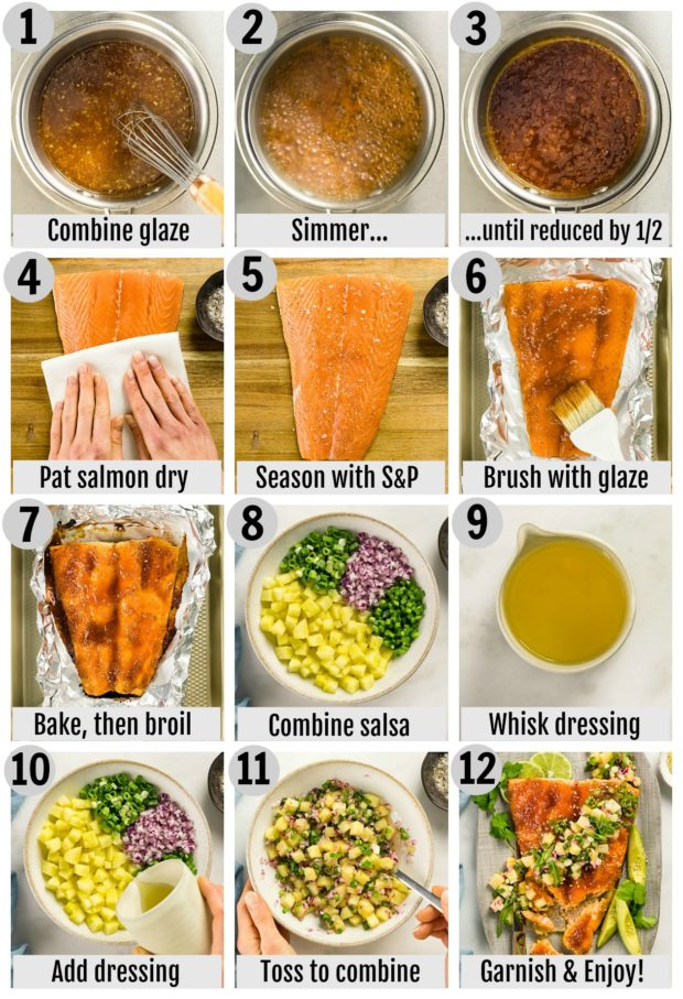 Overhead photo collage of how to make honey sriracha salmon step by step with written instructions on each step.