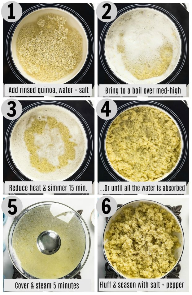 Overhead photo collage of how to easily cook perfect quinoa step by step with written directions on each photo.