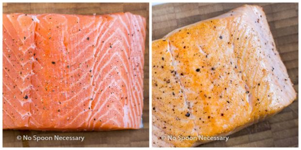 Overhead collage shot of a photo of raw salmon filet next to a photo of perfectly pan seared salmon filet - step 5 and 6 of the Sweet Sriracha Salmon recipe.