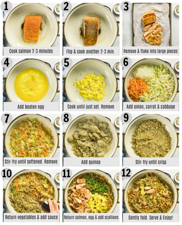 Overhead photo collage of how to make salmon fried rice step by step with written instructions on each photo.