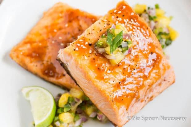 Sweet Sriracha Glazed Salmon w Pineapply Salsa-137