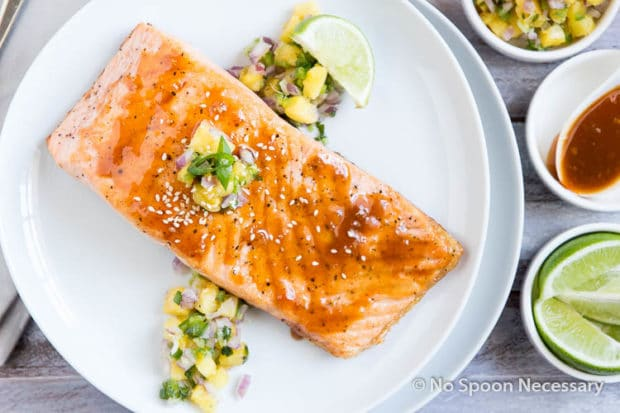 Sweet Sriracha Glazed Salmon w Pineapply Salsa-19