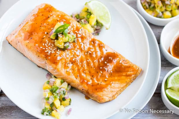 Sweet Sriracha Glazed Salmon w Pineapply Salsa-37