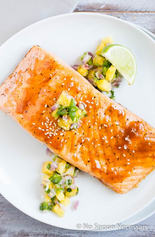 Sweet Sriracha Glazed Salmon w Pineapply Salsa-49