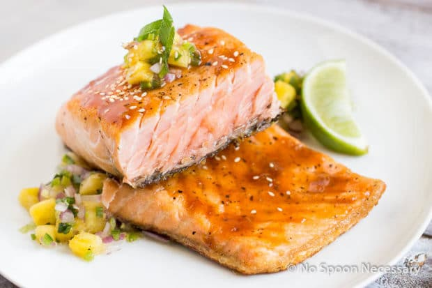 Sweet Sriracha Glazed Salmon w Pineapply Salsa-98