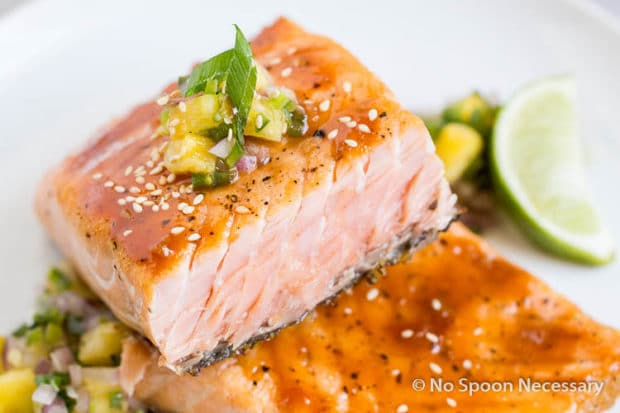 Sweet Sriracha Glazed Salmon w Pineapply Salsa-99