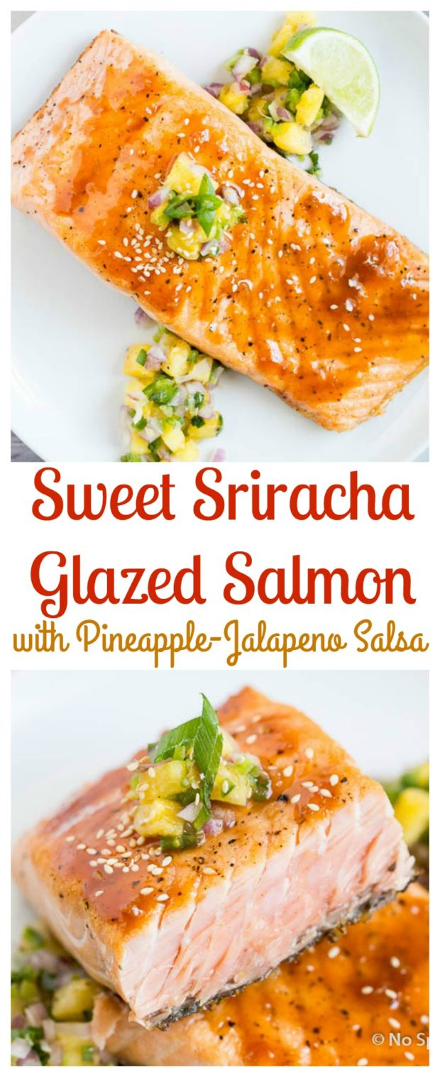 Crispy Pan Seared Salmon with Sweet Sriracha Glaze & Pineapple Salsa ...