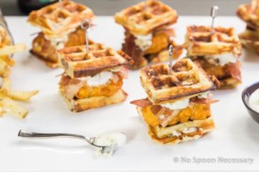 Buffalo Chicken & Blue Cheese-Bacon Waffle Club Sliders