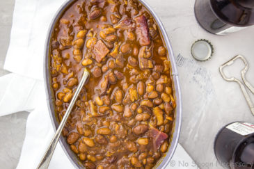 Homemade Bacon, Bourbon & Brown Sugar Baked Beans