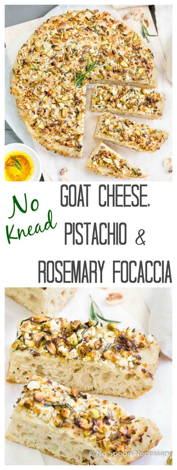 No Knead Goat Cheese, Pistachio & Rosemary Focaccia