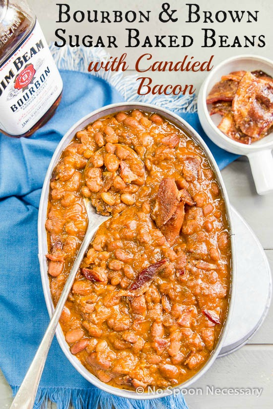 Bourbon & Brown Sugar Baked Beans {with Candied Bacon}