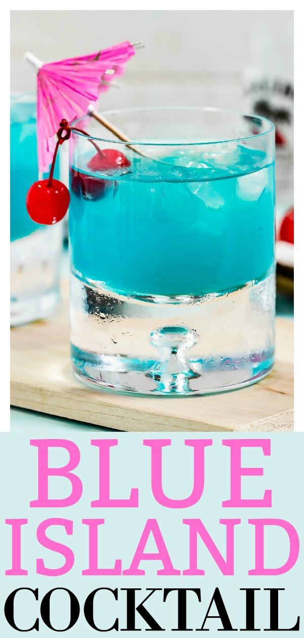 Rum Blue Island Cocktail | This easy cocktail is like a taste of the tropics! Made with coconut, citrus, fruity flavors and rum, this libation is smooth and fabulously refreshing! #rum #cocktail #island #blue #drink