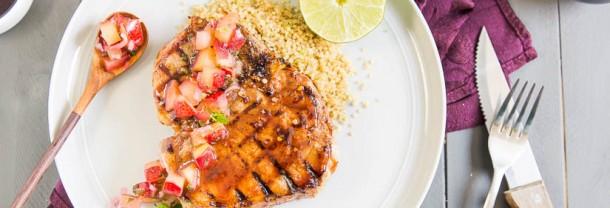 Grilled Hoisin & Honey Glazed Pork Chops with Plum Salsa ...