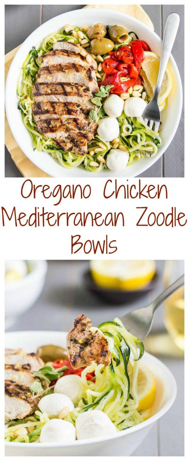 Oregano Chicken Mediterranean Zoodle Bowls