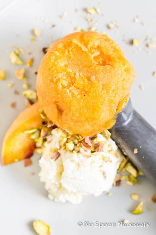 Bourbon Poached Peach Sorbet