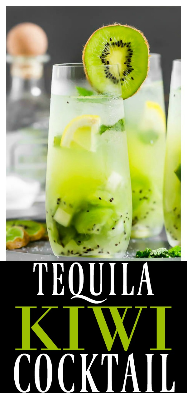 Tequila Kiwi Smash Cocktail | This libation is the perfect way to toast summer! With notes of fresh kiwis, cool mint, tequila and club soda it's refreshing and smashing-ly delicious!!  #tequila #kiwi #cocktail #summer #drink #easy #recipe #fruity