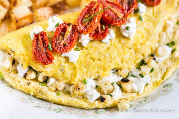 Fluffy Corn, Goat Cheese & Chive Omelettes with Slow Roasted Tomatoes ...