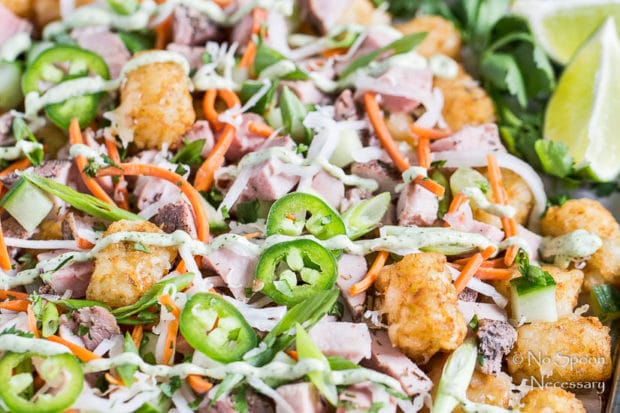 Extreme up-close, angled shot of Banh Mi Totchos (tater tot nachos) drizzled with cilantro-lime aioli and garnished with jalapeno slices.