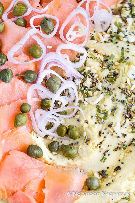 Overhead, up-close shot of Lox & Everything Bagel Hummus.