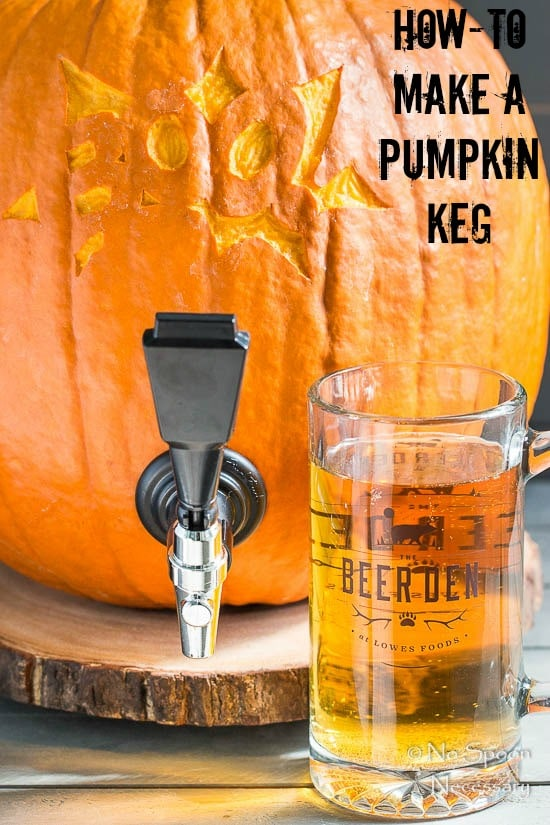 "Straight on shot of a pumpkin keg and beer glass filled with beer with the words ""How To Make A Pumpkin Keg"" written in the top right corner of the shot."