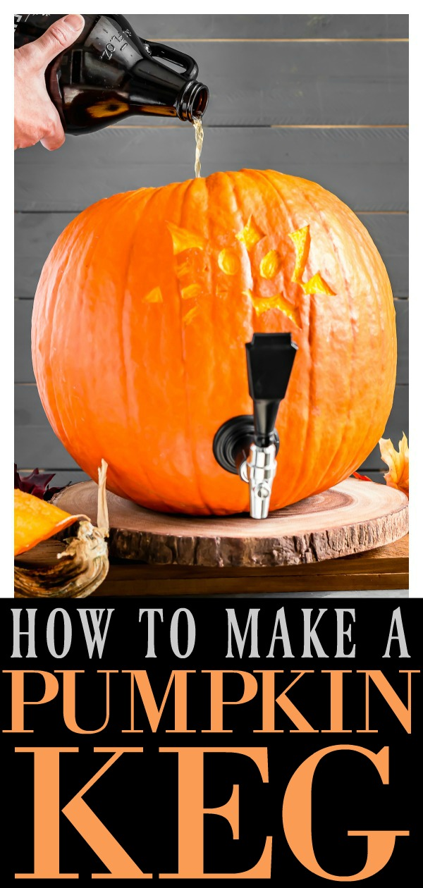 Easy tutorial on how to make a pumpkin keg with step-by-step photos!  It's a festive and fun way add pumpkin flavor to your favorite beer or sangria!  #pumpkin #keg #beer #tutorial #DIY #easy