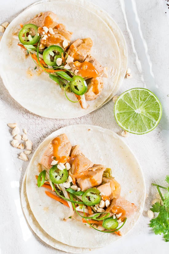 Slow Cooker Thai Chicken Tacos {with Bean Sprout Slaw ...
