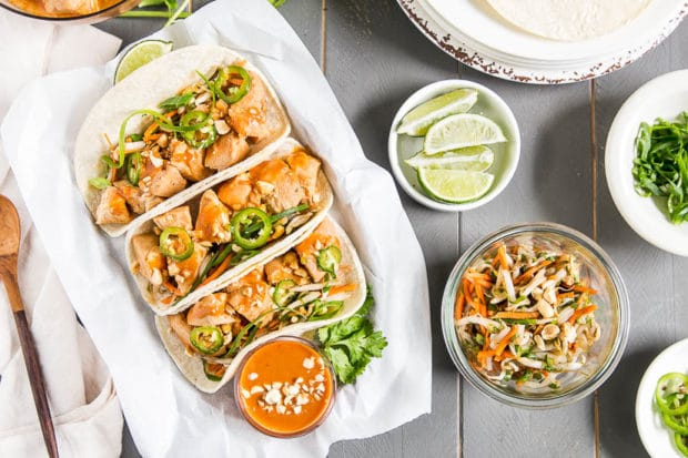 Thai Chicken Tacos {with Bean Sprout Slaw & Peanut Sauce} - No Spoon ...