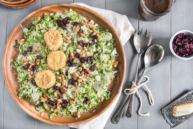 Shredded Brussels Sprouts Salad with Baked Goat Cheese & Honey ...