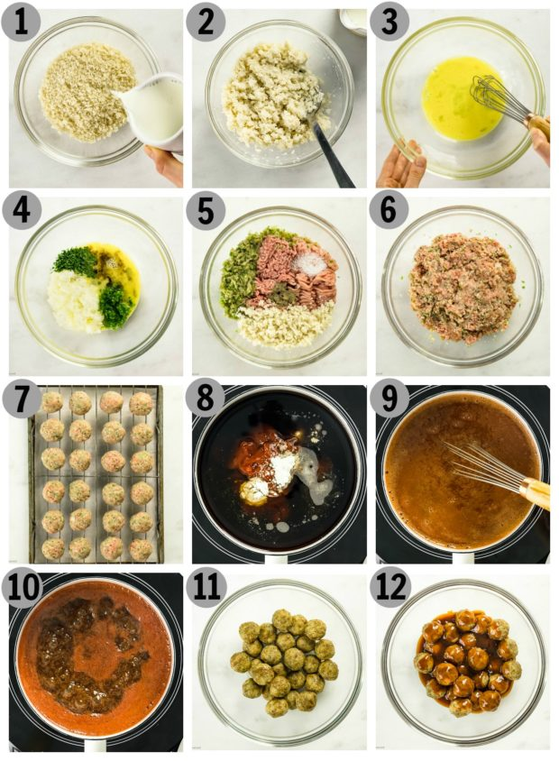 Overhead photo collage of how to make Dr Pepper Meatballs step by step.