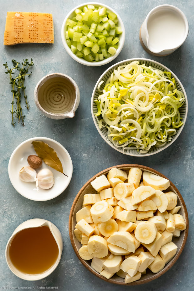 Overhead photo of all the ingredients needed to make Leek Parsnip Soup Recipe.
