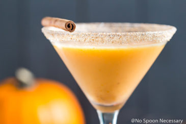 Straight on landscapt shot of a Pumpkin Pie Martini garnished with a cinnamon stick and graham cracker-sugar rim with a small pumpkin blurred in the background.