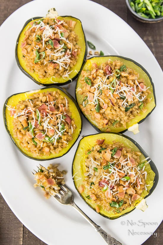 Bacon & Scallion Farro Stuffed Acorn Squash-182