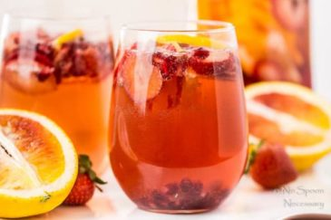 Champagne Sangria {with Blood Orange, Pomegranate & Strawberry}
