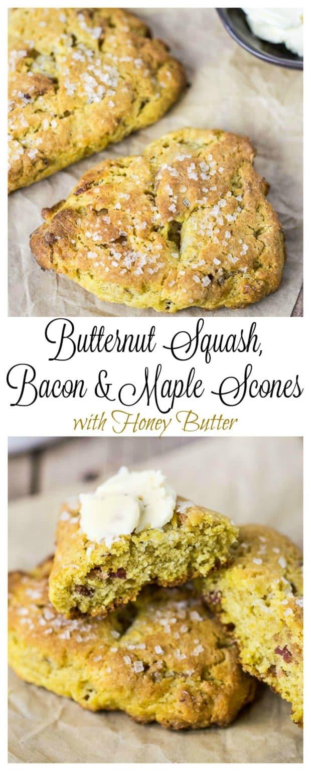 Butternut Squash, Bacon & Maple Scones- long pin